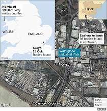 Puluhan jenazah ditemukan di dalam truk kontainer di Inggris
