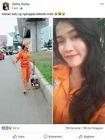 Viral di Facebook, Sosok Gadis Cantik Ini Bangga Jadi Pembersih Jalan