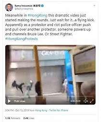 Bak Bruce Lee, 'Tendangan Terbang' Demonstran Ini Bikin Netizen Heboh