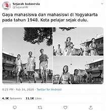 Potret Mahasiswa Yogyakarta Tahun 1948 Viral, Gaya Fashion Bikin Pangling
